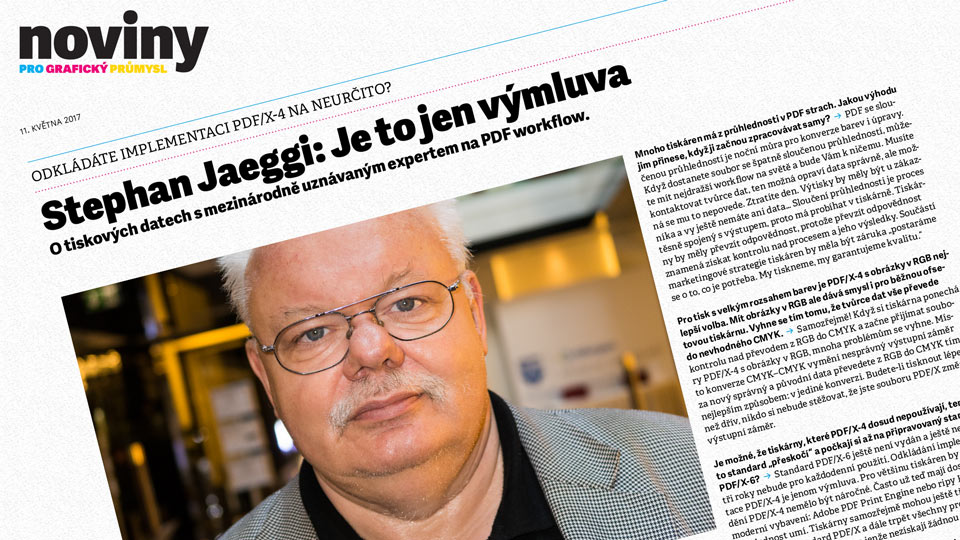 Stephan Jaeggi: Je to jen výmluva v Novinách pro grafický průmysl